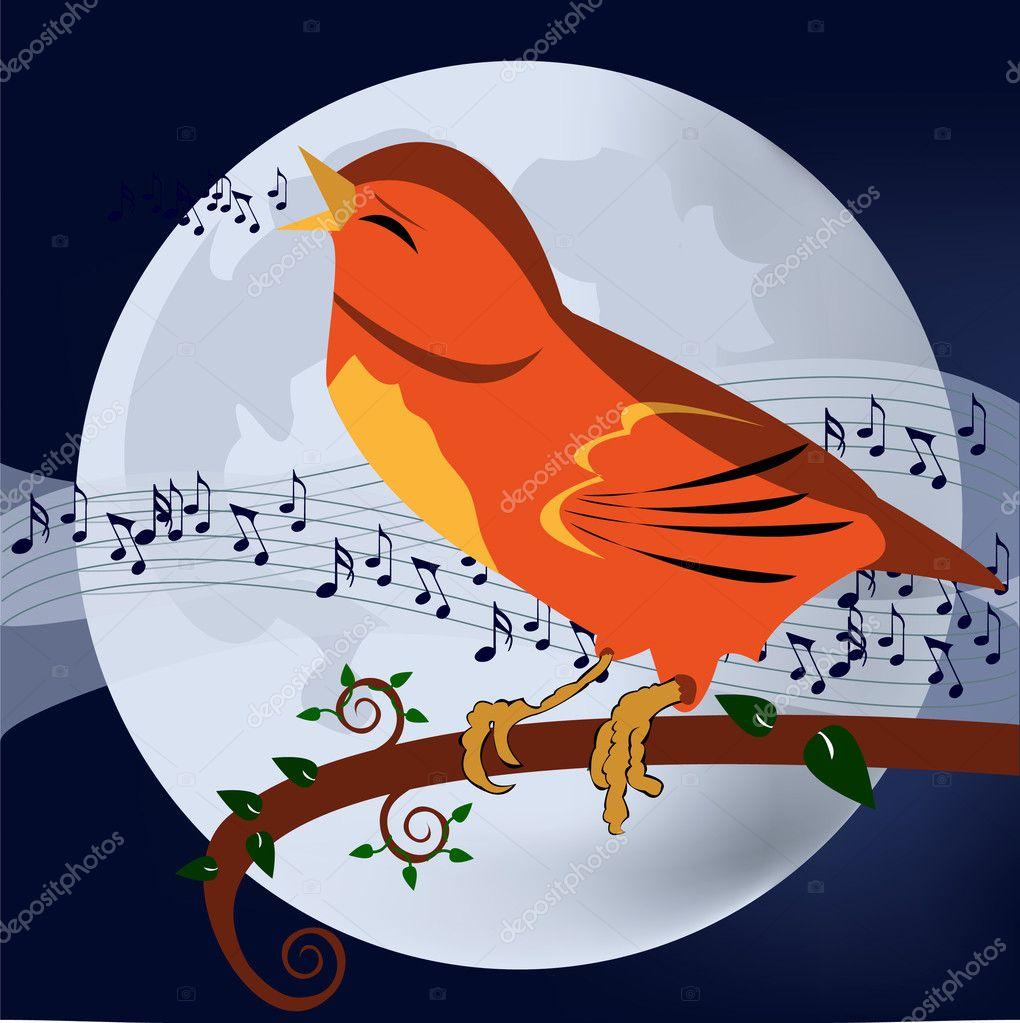 Singing bird - stock illustration