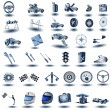 Blue transport icons 2 - Stock Vector