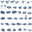 Blue transport icons — Vecteur #2867999