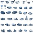 Blue transport icons - Stock Vector