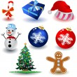 christmas icons — Stock Vector
