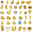 Gold interface icons 2 — Stock Vector