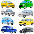 Minivan icons — Stock Vector