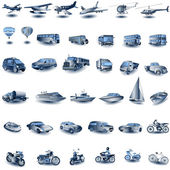Blue transport icons — 图库矢量图片