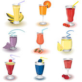 Fruit shake icons — Stock Vector