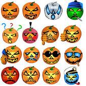 Pumpkin emotions — Stock Vector