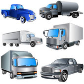 Vrachtwagens ikon set — Stockvector