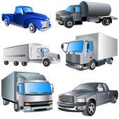 Trucks Ikon Set — Stock Vector