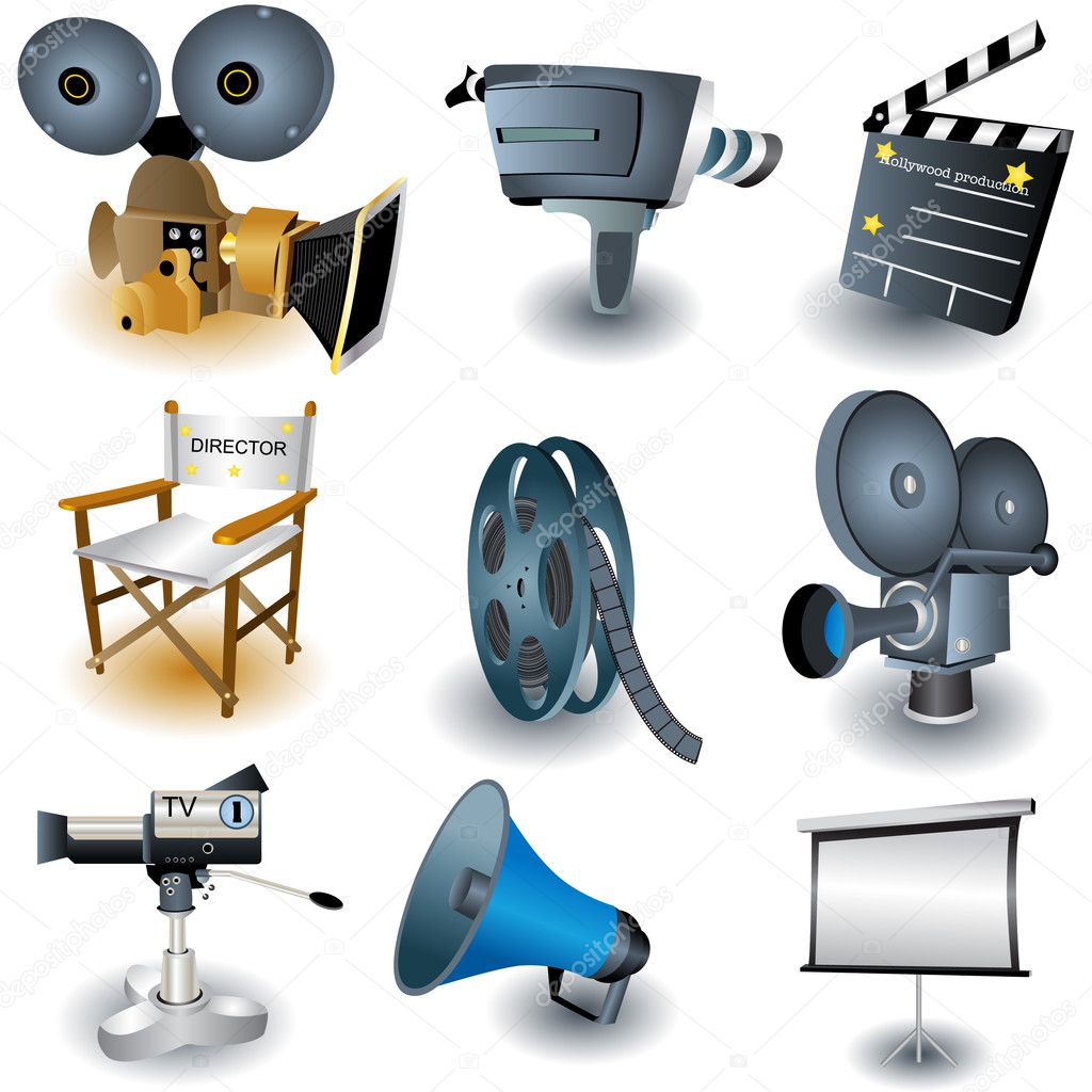 9 illustrated movie equipment icons. — Stock Vector #2868067