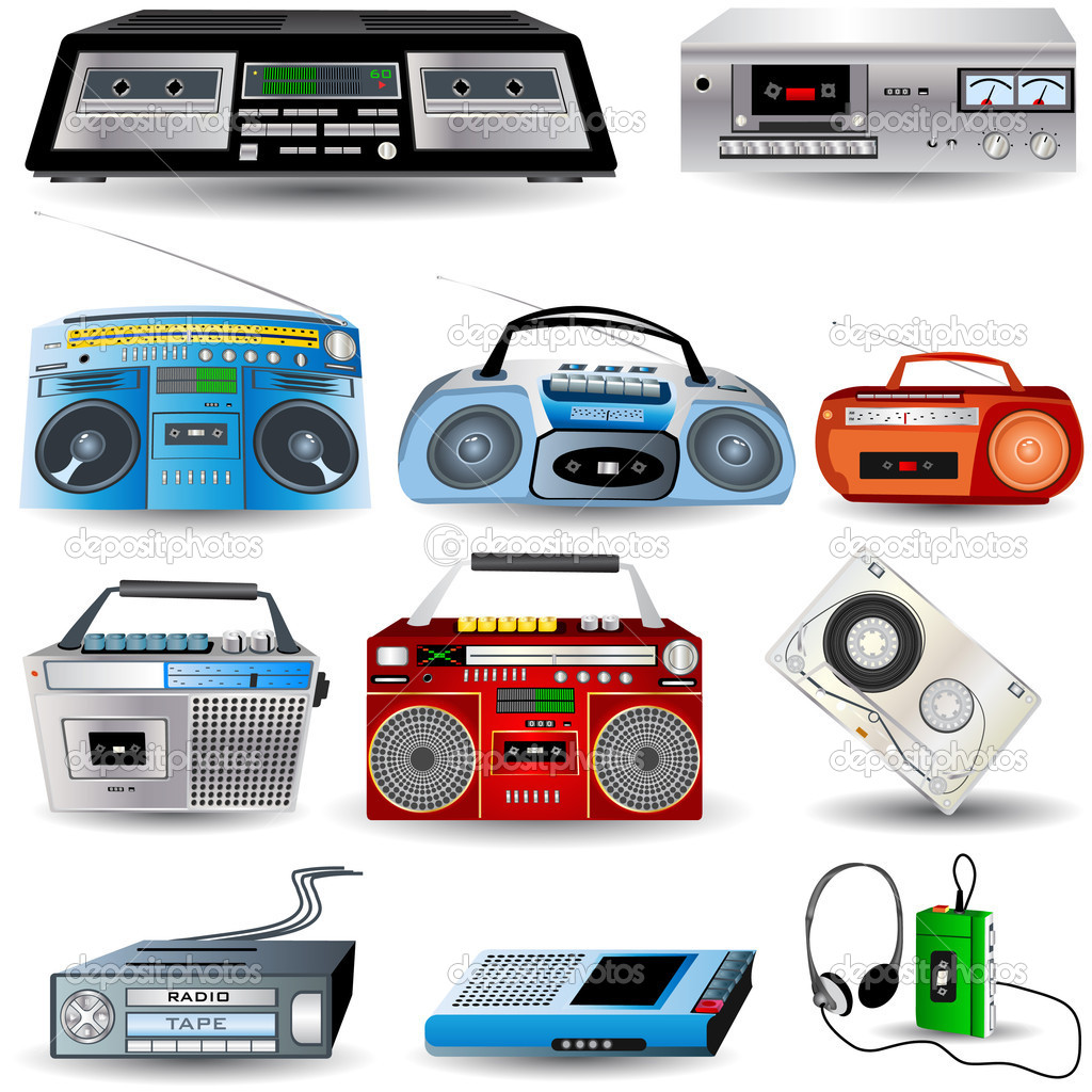 Cassette player icons and a type. — Stock Vector #2868134