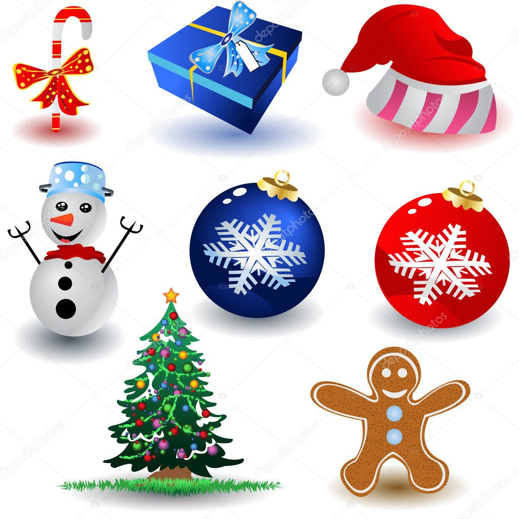 Collection of Christmas icons over white background — Stock Vector #2868231