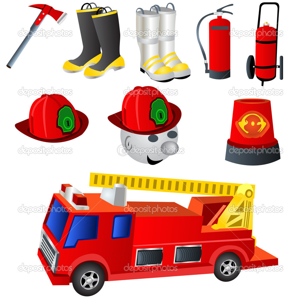 9 colored fireman icons. — Stock Vector #2868364