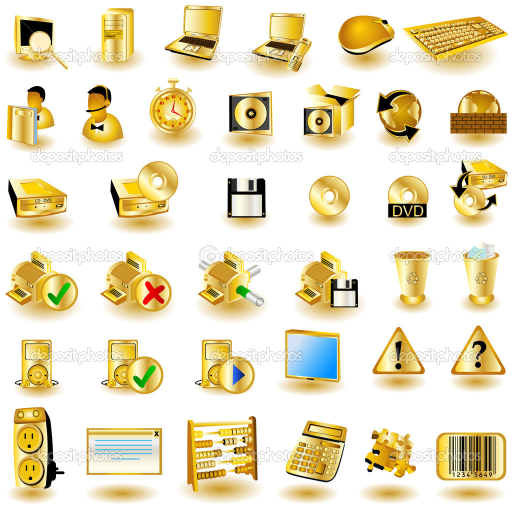 A collection of gold interface icons - part 2 — Векторная иллюстрация #2868442