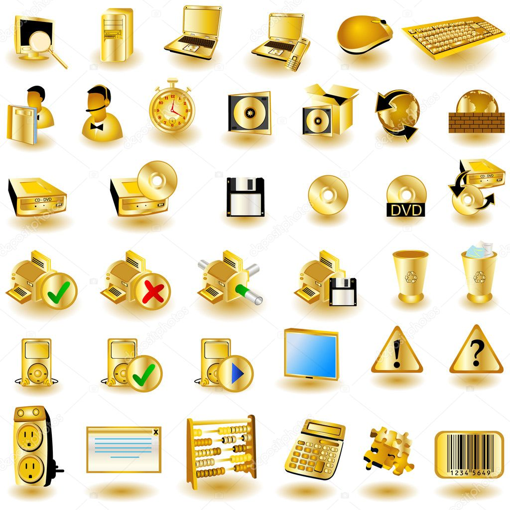 A collection of gold interface icons - part 2 — Stock vektor #2868442