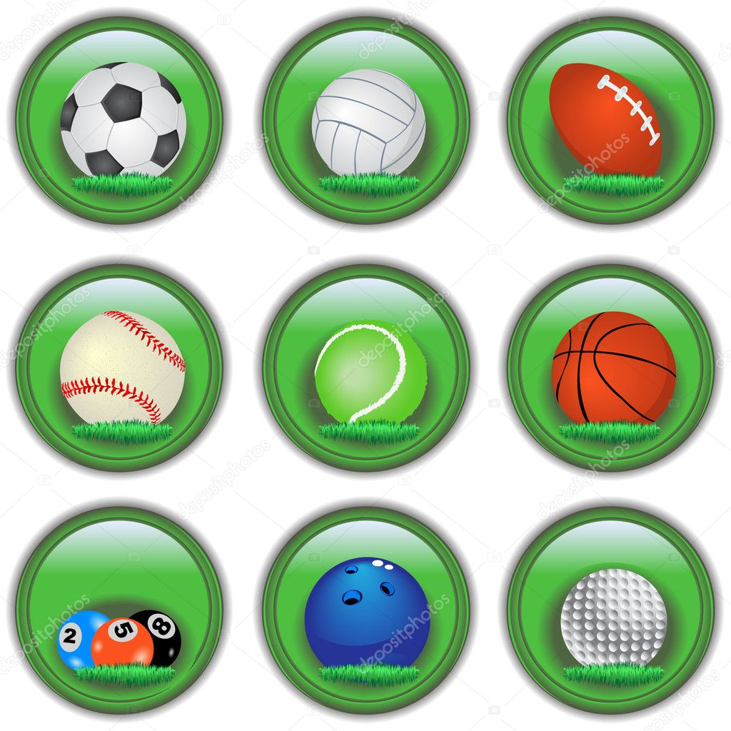 Green buttons with sport balls inside it. — Stock Vector #2868472