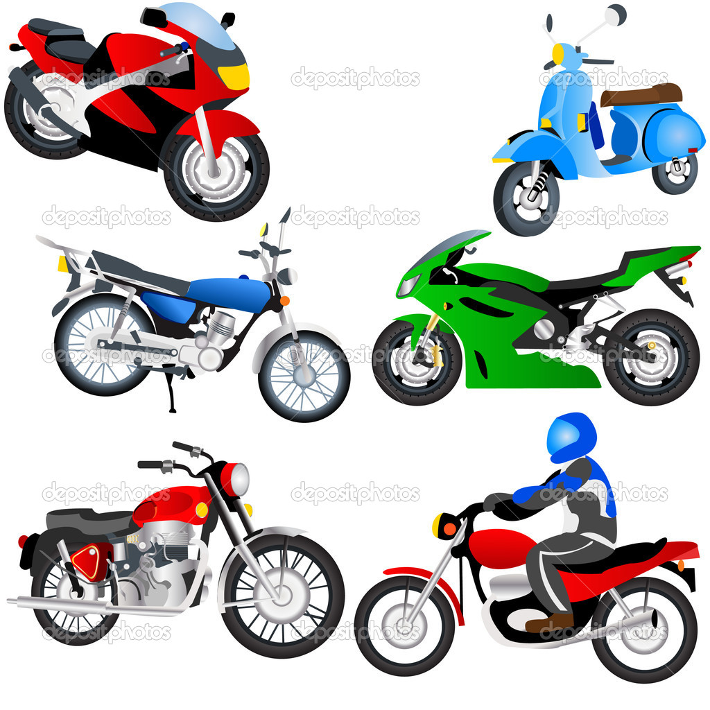 Vector illustration of 6 motorcycles. — Stock Vector #2868552