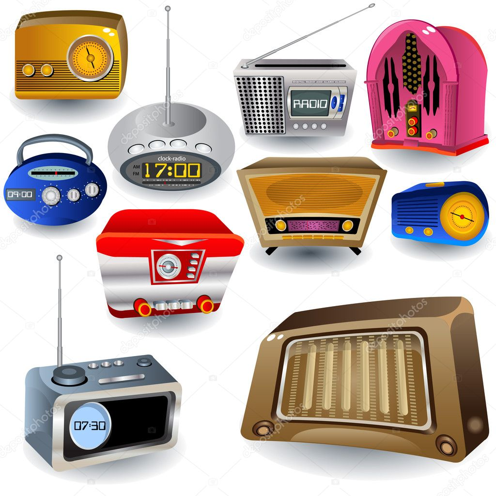 Variety of radio Icons, from old to modern. — Stock Vector #2868720