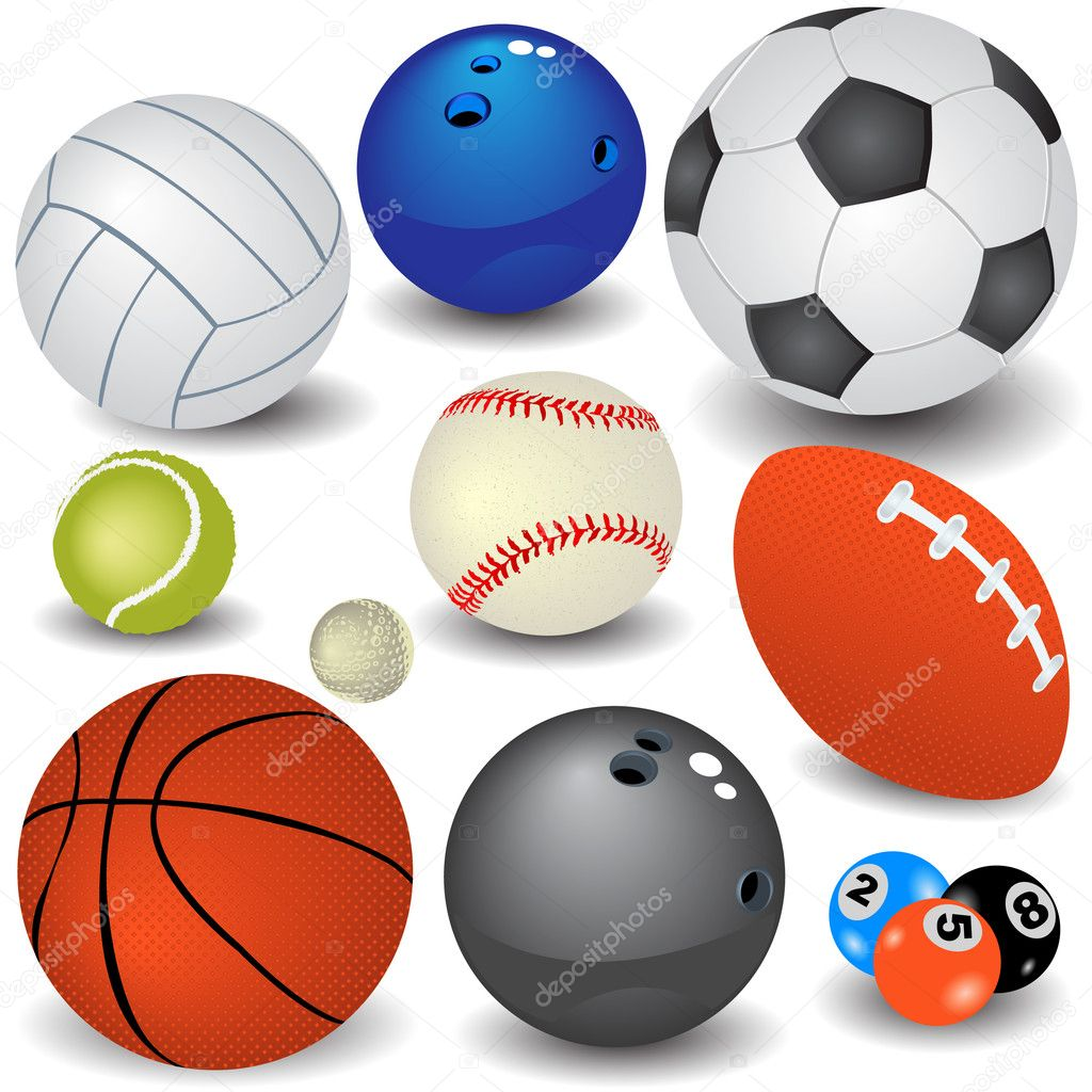 Variety of sport balls, easy editable vector illustration. — Stock Vector #2868776