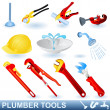 Plumber tools set — Stock vektor