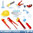 Plumber tools set — Stockvectorbeeld