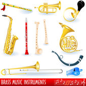 Brass music instruments — Stock Vector