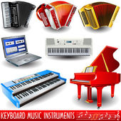 Keyboard music instruments — Vettoriale Stock