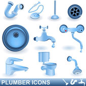 Plumber icons — Stock Vector