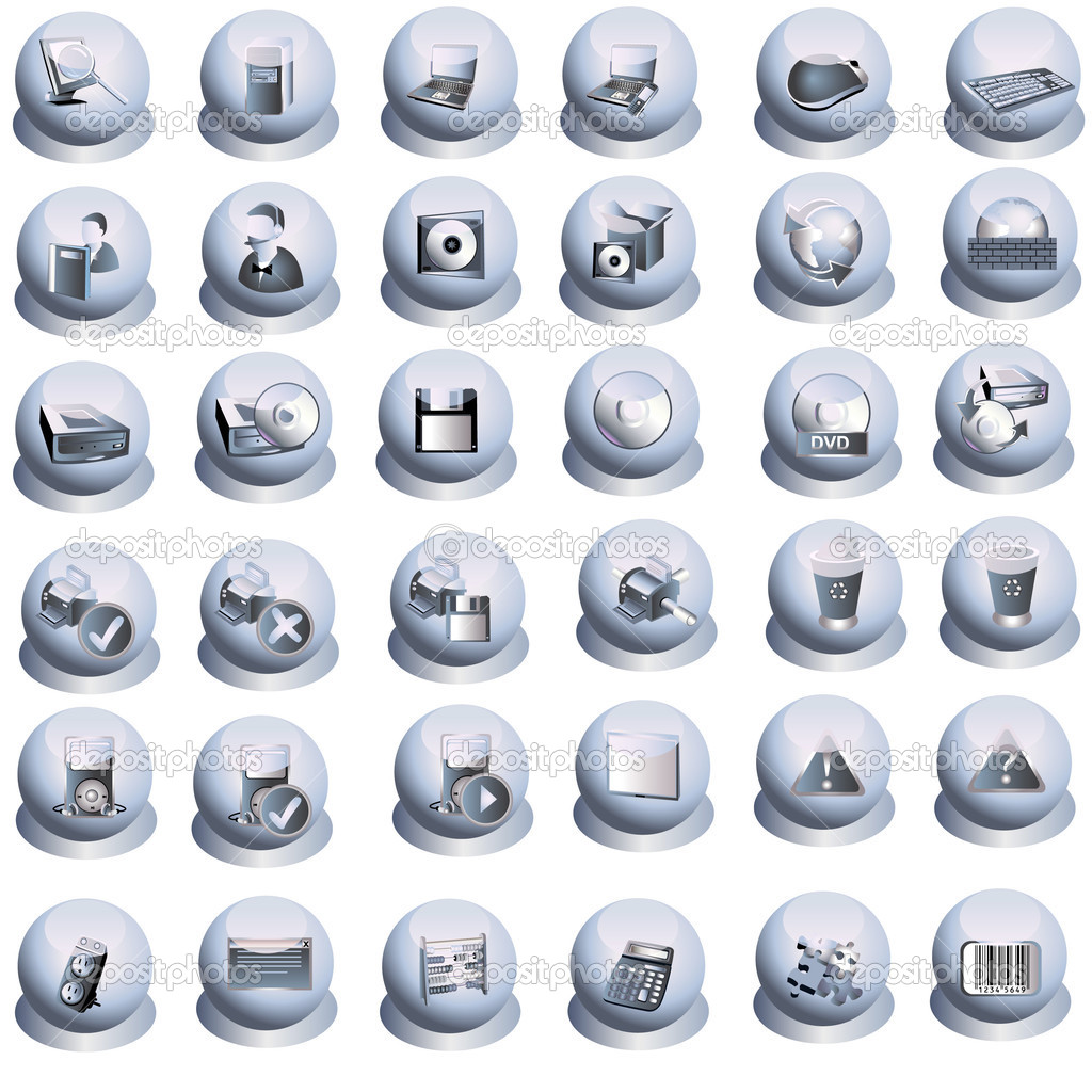 Computer grey icons set, vector illustration. — Stock Vector #2873966