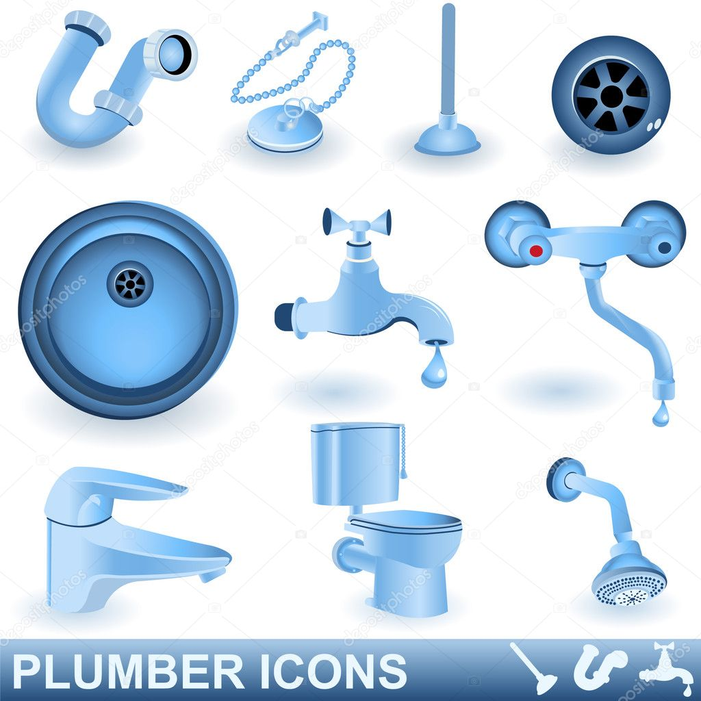 Blue plumber icons set.  Imagens vectoriais em stock #2874192