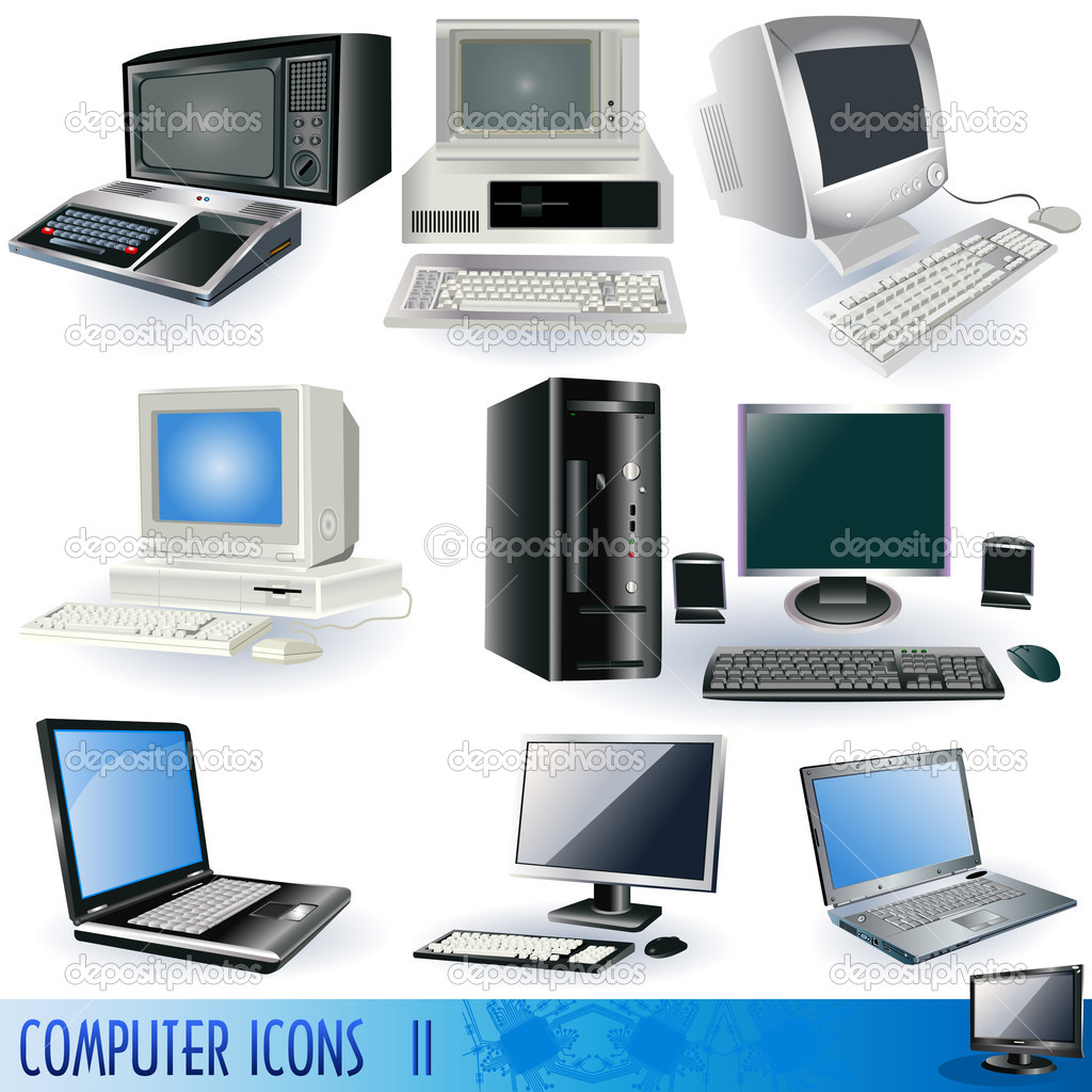 Computer icons part 2, realistic vector illustration. — Stock Vector #2877462