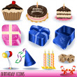 Stock Vector: Birthday icons