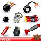 Bomb icons — Stock Vector