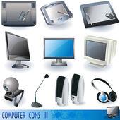 компьютер иконки 3 — Cтоковый вектор