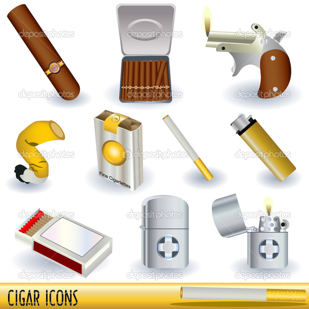 A collection of cigars, cigarettes and cigarette lighters, color illustrations isolated on white background. — Stock Vector #3002453