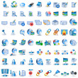 Lightblue network icons - Stock Vector