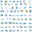 Light blue Transport icons - Stock Vector