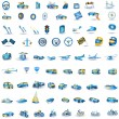 Stock Vector: Light blue Transport icons