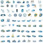 Light blue Transport icons — Stock Vector