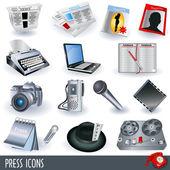Press icons — Stock Vector