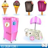 Ice cream icons 1 — Stock Vector