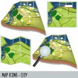 Map icons - city - Stockvectorbeeld