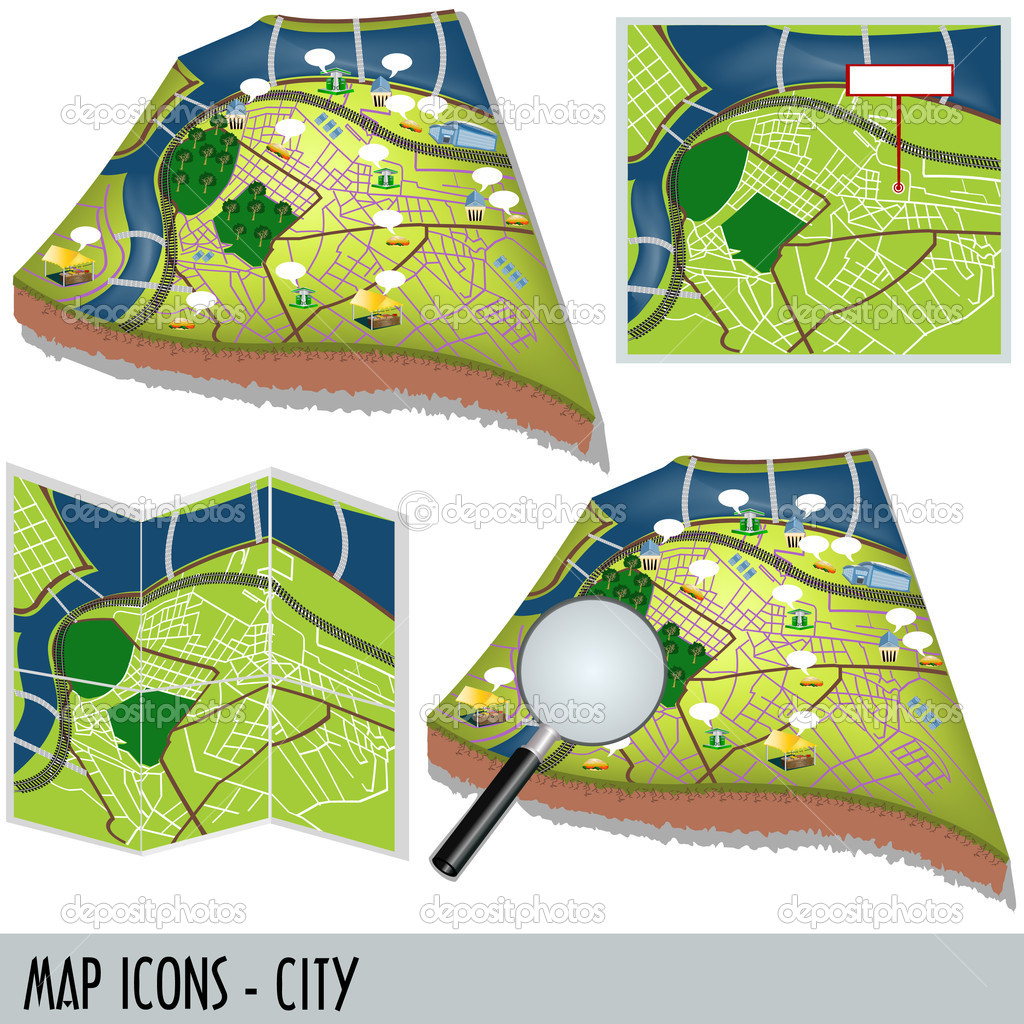 Illustration of city map icons isolated on white background — Stock Vector #3704770