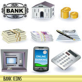 Bank pictogrammen — Stockvector