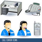 Call center icons — Stock Vector
