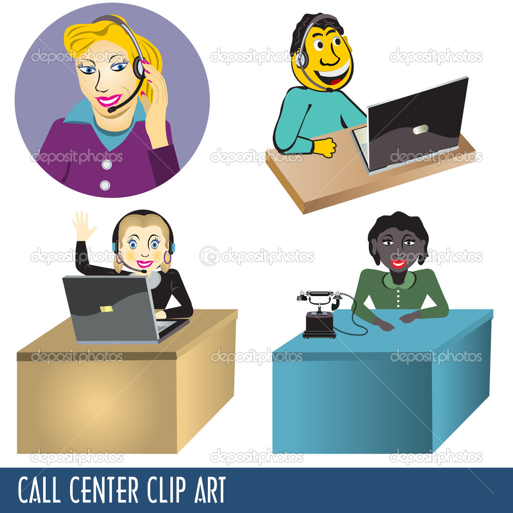 Call center Clip Art collection, four illustrations — Stock Vector #3863392