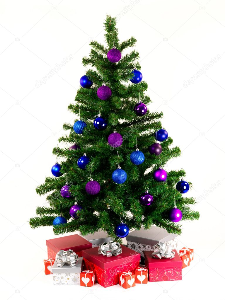 A Christmas tree isolated against a white background  Stock Photo #2734329
