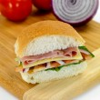Ham and Salad Roll — Stock Photo