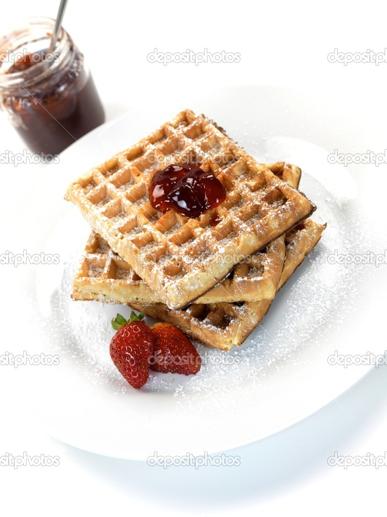 Breakfast waffles isolated against a white background — Stock Photo #3141817