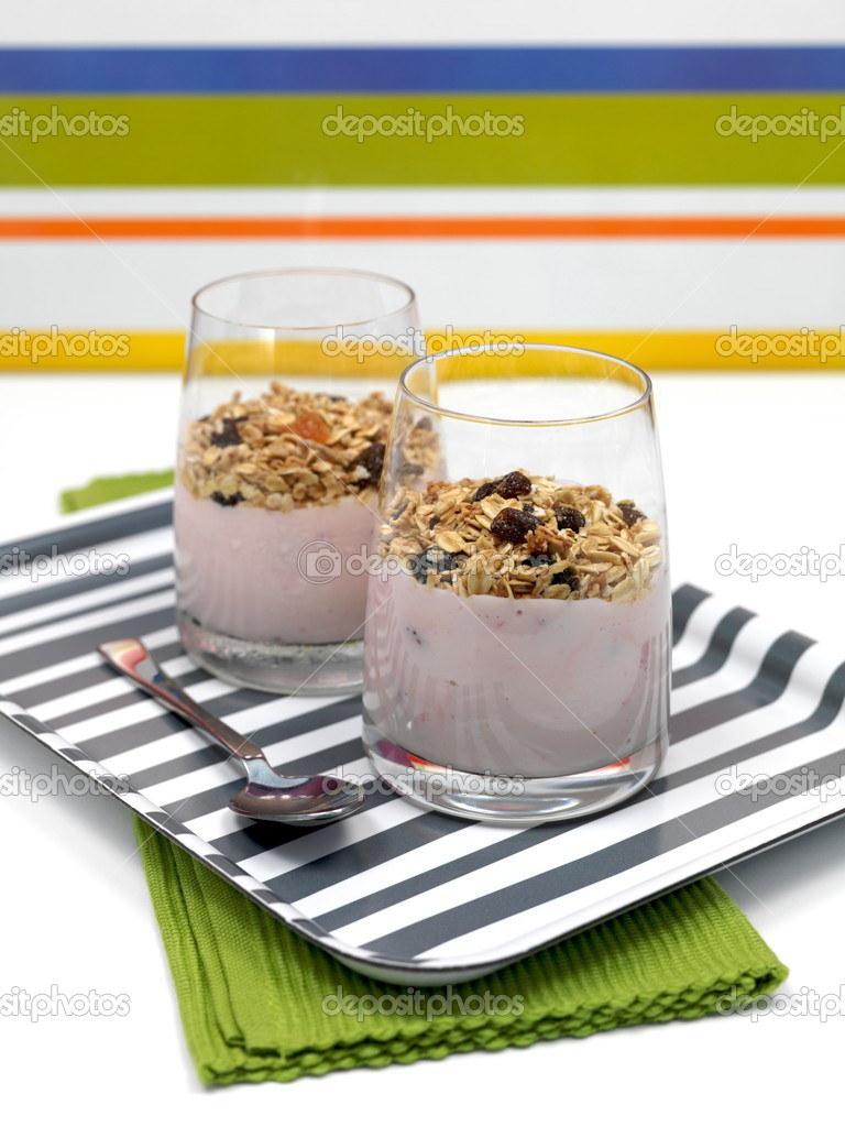 Strawberry yogurt with muesli in a glass  Stock Photo #3548684