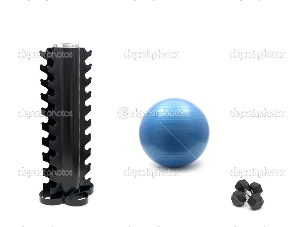 A fitball, dumbells and an empty dumbell rack isolated against a white background — Stock Photo #3712305